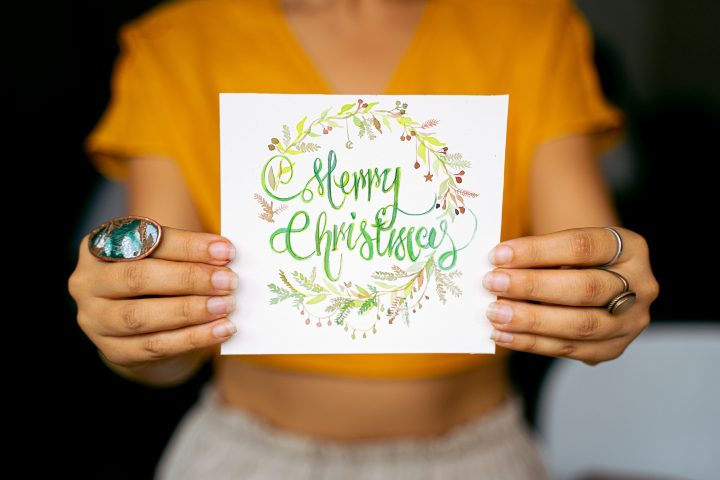christmas diy postcard with simple lettering