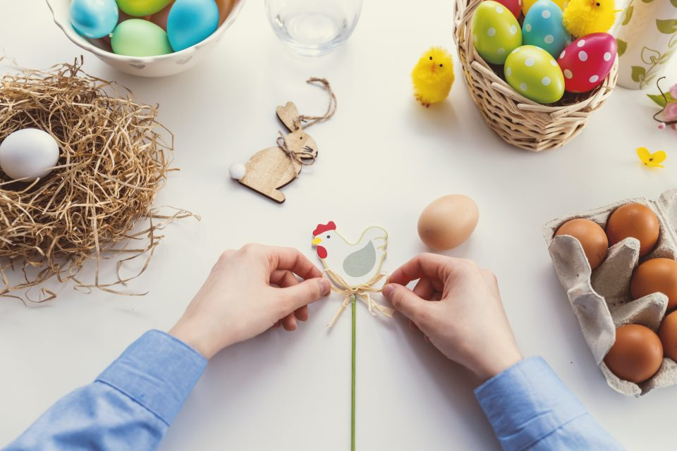 easter wooden decorations and eggs