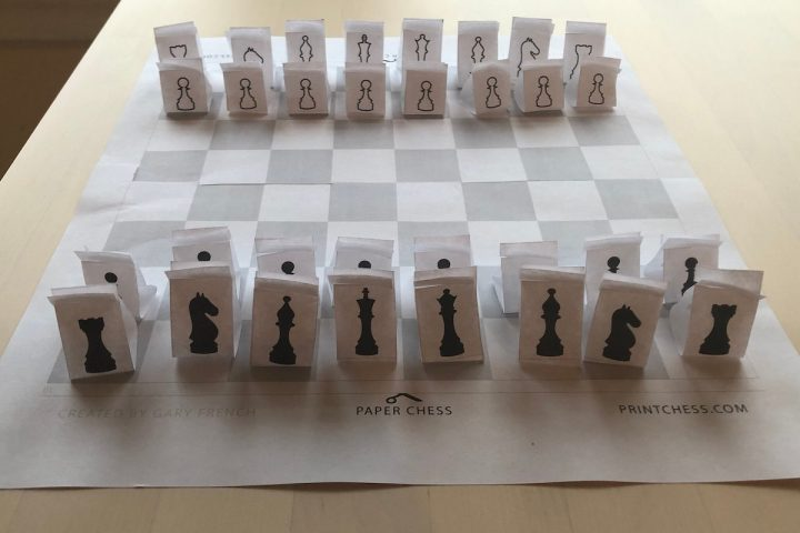 An easy-to-assemble DIY paper chess board from printchess.com
